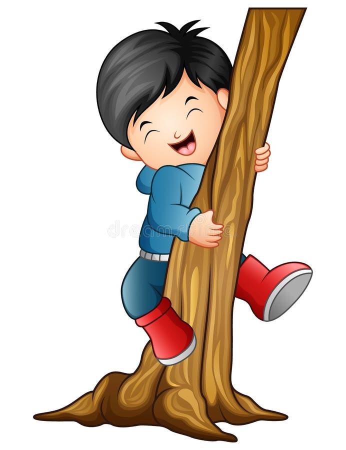 爬树的男孩 皇族释放例证