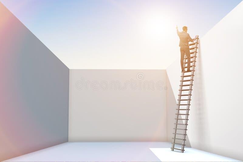 爬梯子的商人从问题逃脱 图库摄影