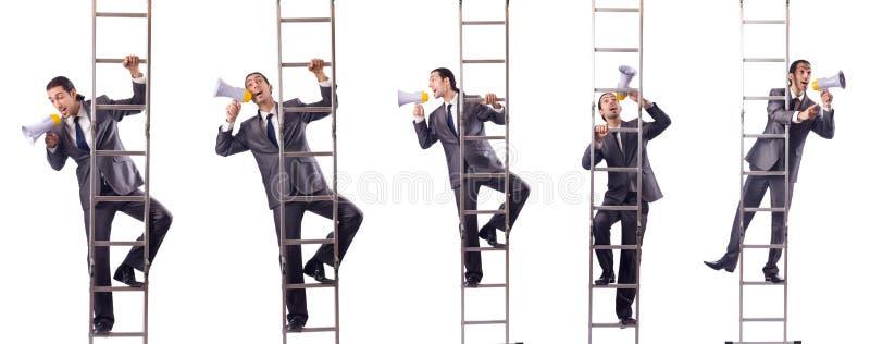 爬梯子的商人隔绝在白色 免版税库存照片