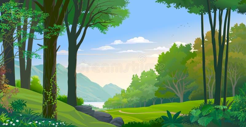爬行沿树干的爬行物 森林和河和山的看法 库存例证