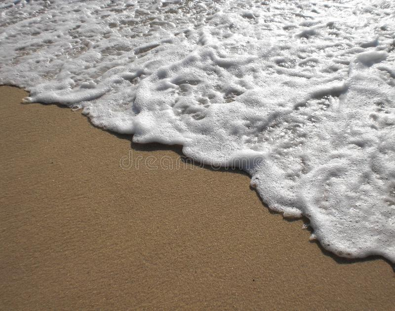 爬行海的海浪岸上 免版税图库摄影
