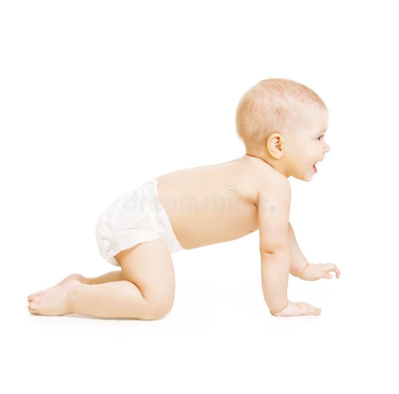 爬行的婴孩,在白色,愉快的三个月的婴儿孩子爬行儿童 库存照片