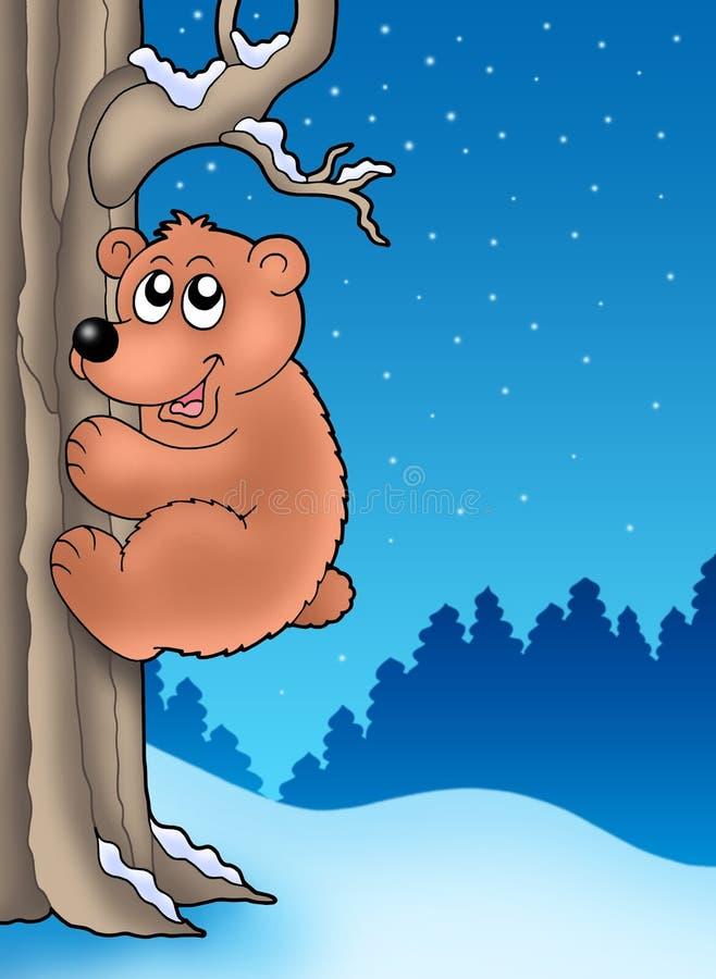 爬逗人喜爱的结构树的熊 库存例证