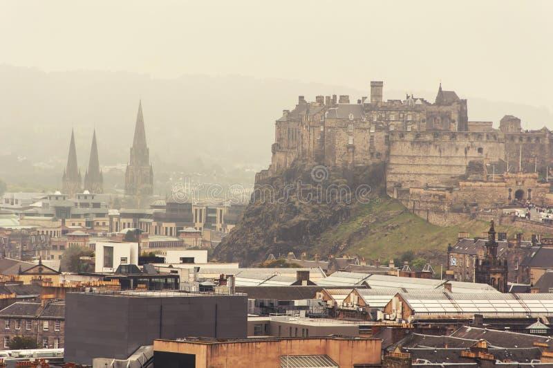 爱丁堡全景鸟瞰图  免版税库存照片