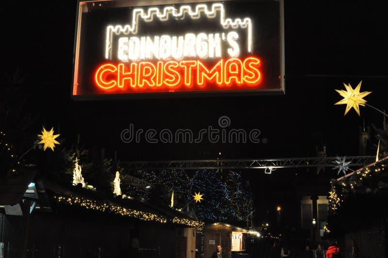 爱丁堡圣诞节-美妙的圣诞节市场 免版税库存图片