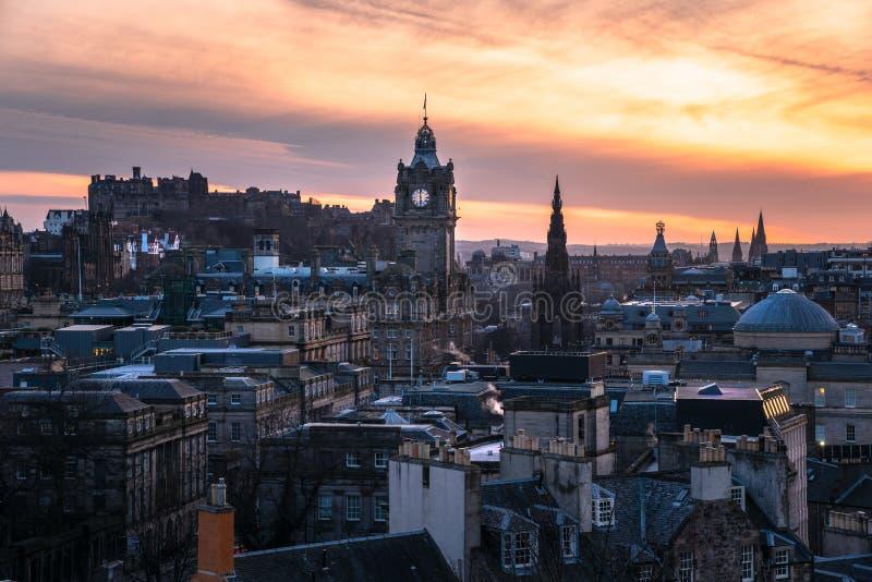 爱丁堡庄严看法日落的 免版税库存图片