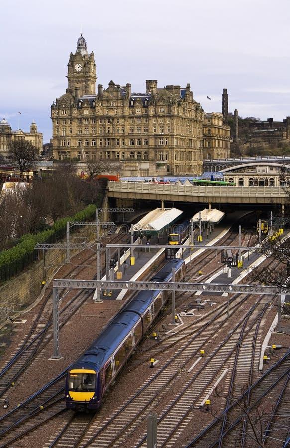 爱丁堡火车站培训 库存照片