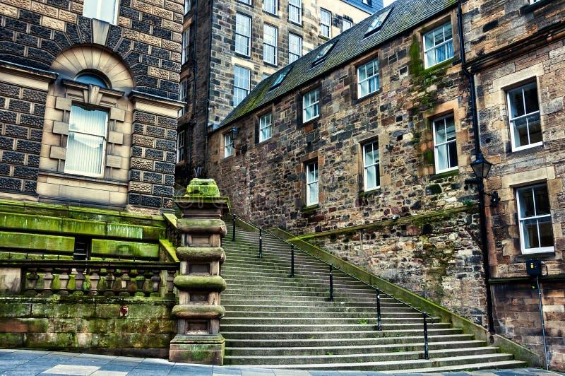 爱丁堡的历史部分老大厦  免版税图库摄影