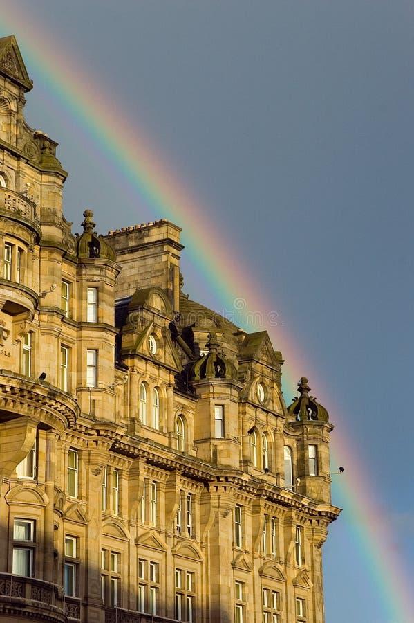 爱丁堡雨彩虹苏格兰 免版税库存照片
