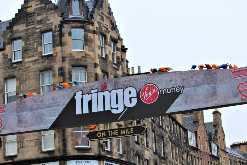 爱丁堡,苏格兰/英国- 2018年8月14日:边缘节日是最大的艺术节在世界上 免版税图库摄影