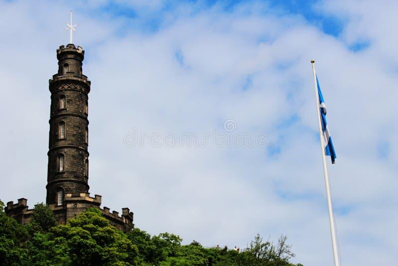 爱丁堡- Cartlon小山,纳尔逊的纪念碑 免版税库存照片