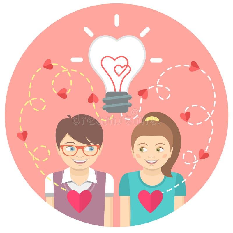 爱上一个电灯泡的夫妇在一个桃红色圈子 皇族释放例证