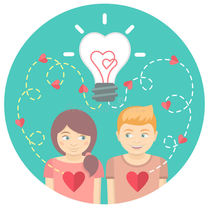 爱上一个电灯泡的夫妇在一个蓝色圈子 皇族释放例证