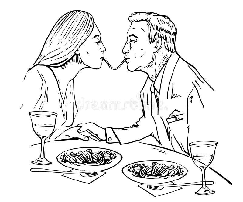 爱上吃意粉,亲吻的夫妇在餐馆 皇族释放例证