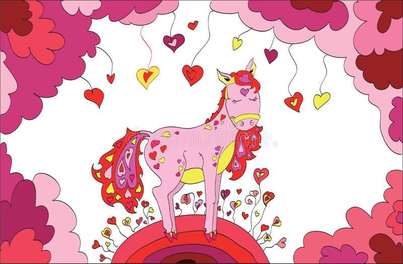 爱上心脏的马走在圣情人节的 库存例证