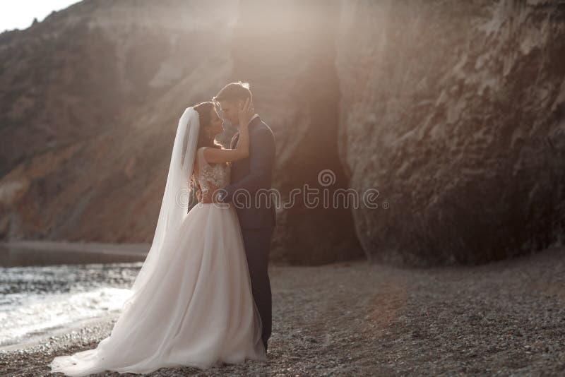 爱上新郎和新娘的愉快的夫妇以在蓝色海洋附近的山为背景 免版税库存照片
