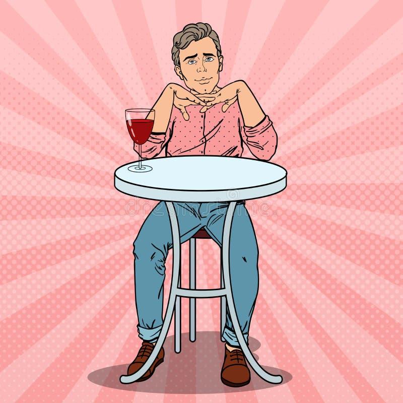 爱上杯的流行艺术英俊的人酒 皇族释放例证