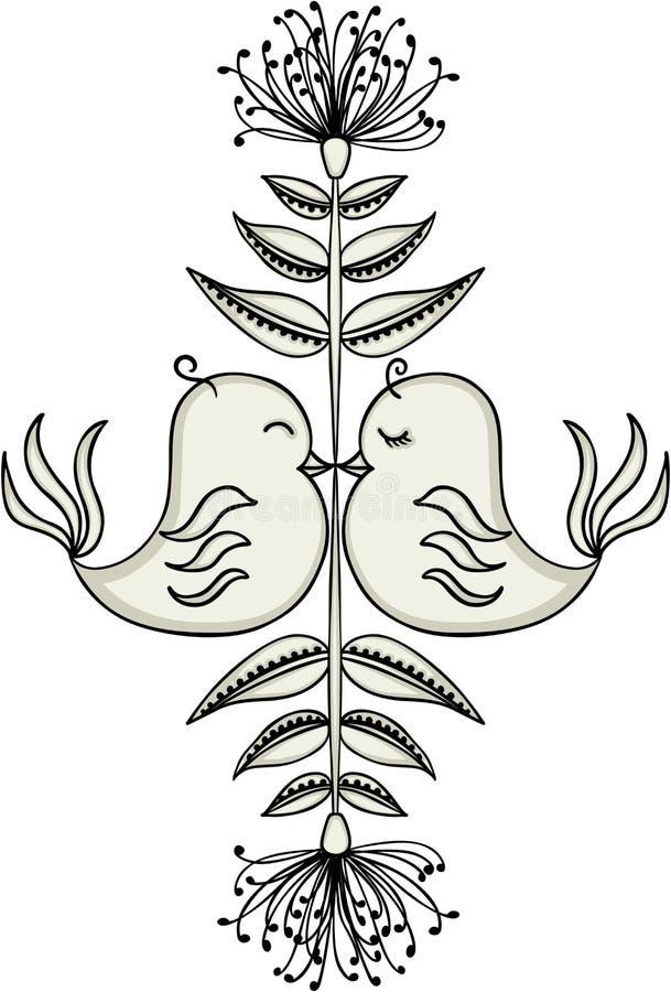 爱上花卉装饰的鸟 向量例证