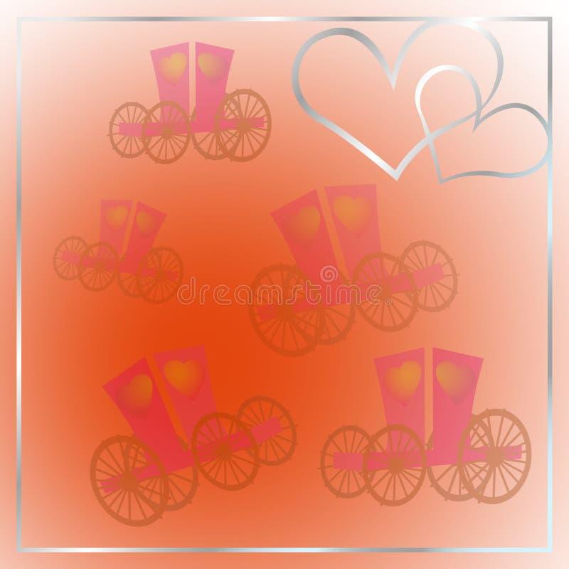爱与两心脏的背景在银和婚礼大型高级轿车,支架 库存例证