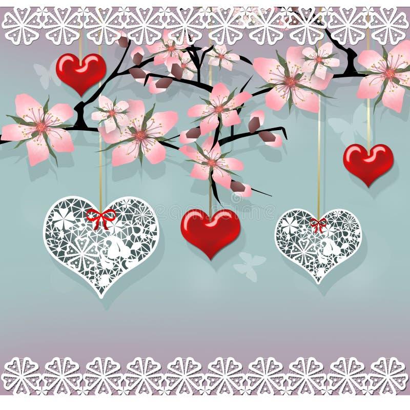爱与垂悬的红色和鞋带心脏的佐仓树 向量例证