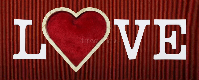 爱与心脏形状的文本在红色纸盒背景 向量例证