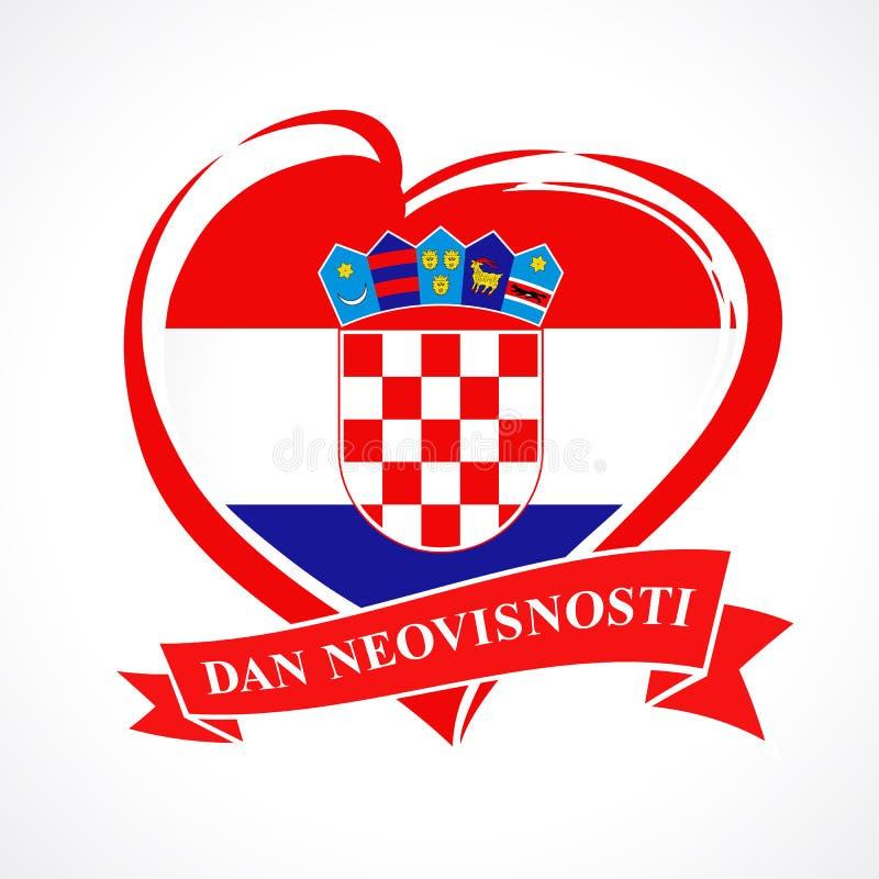 爱与心脏的克罗地亚象征在国旗和克罗地亚人文本:独立日 库存例证