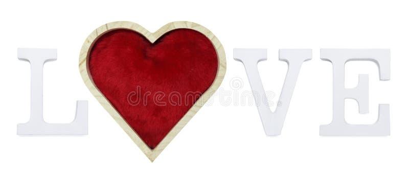 爱与红色心脏形状的文本在白色背景 库存例证