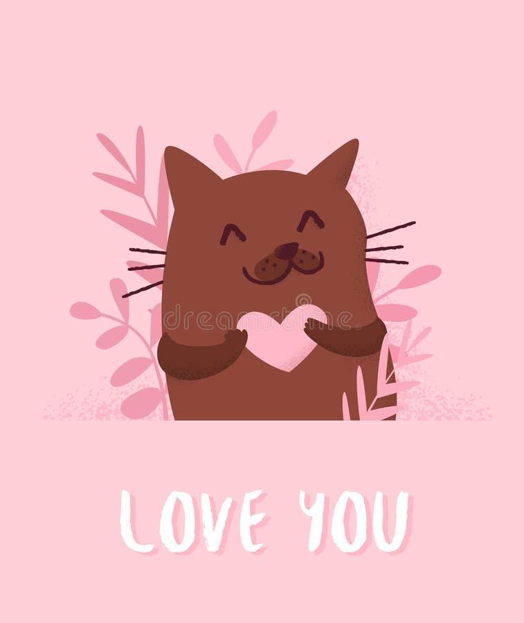 爱与逗人喜爱的猫、植物和心脏的卡片在桃红色背景 平的样式 向量 库存例证