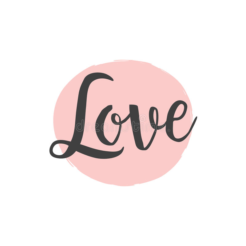 爱书法在桃红色手拉的圈子背景的刷子字法 库存例证