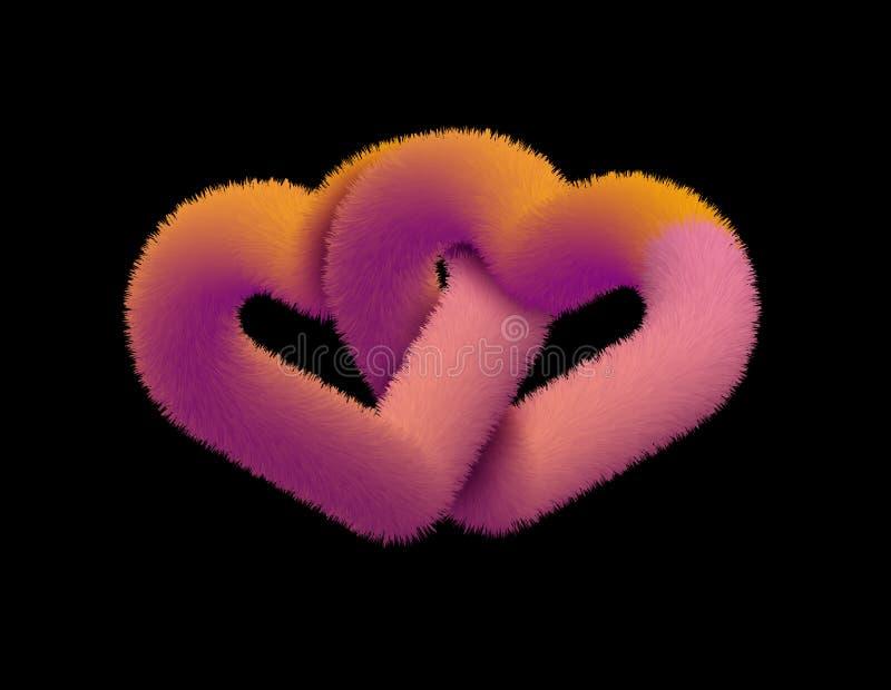 爱二的重点 羊毛心脏 一张贺卡的心脏 皇族释放例证