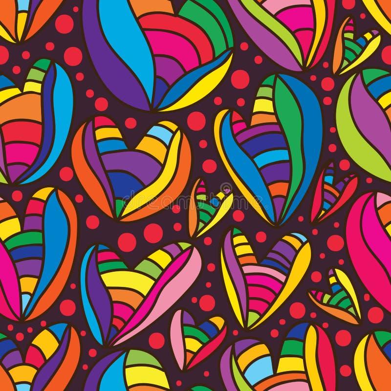 爱五颜六色的无缝的样式 向量例证