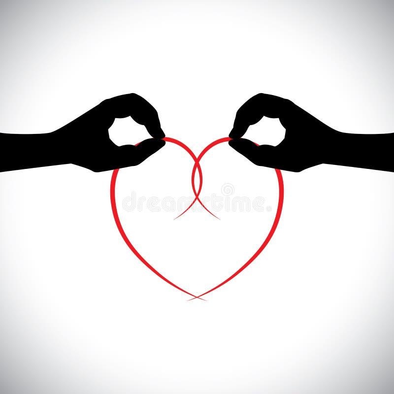 爱传染媒介概念-拿着心脏的两只恋人手。 库存例证