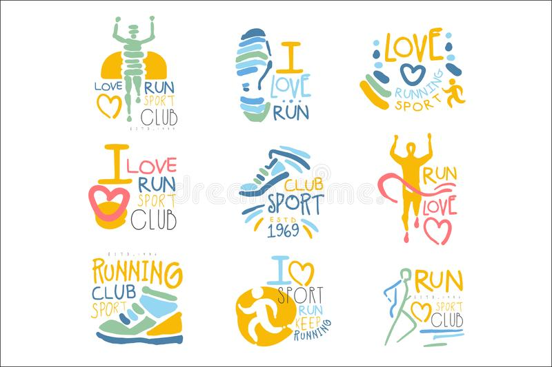 爱体育被设置五颜六色的电视节目预告标志设计模板的人的跑的支持者和奔跑迷会 库存例证