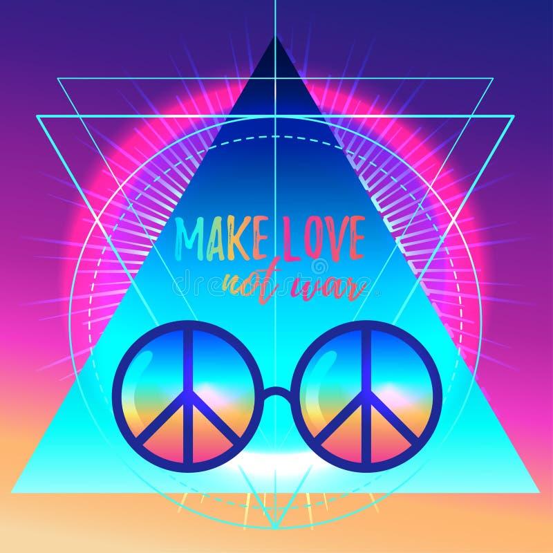 爱做不是战争 彩虹嬉皮与和平标志的太阳镜 v 皇族释放例证