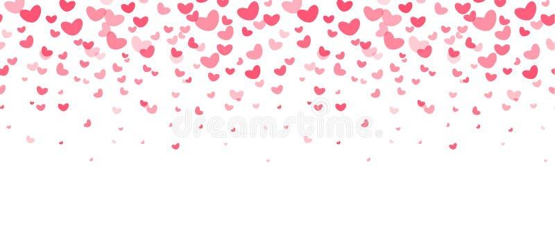 爱党装饰元素,落的红色心脏 婚礼邀请,飞行物,卡片边界 愉快的情人节传染媒介 库存例证