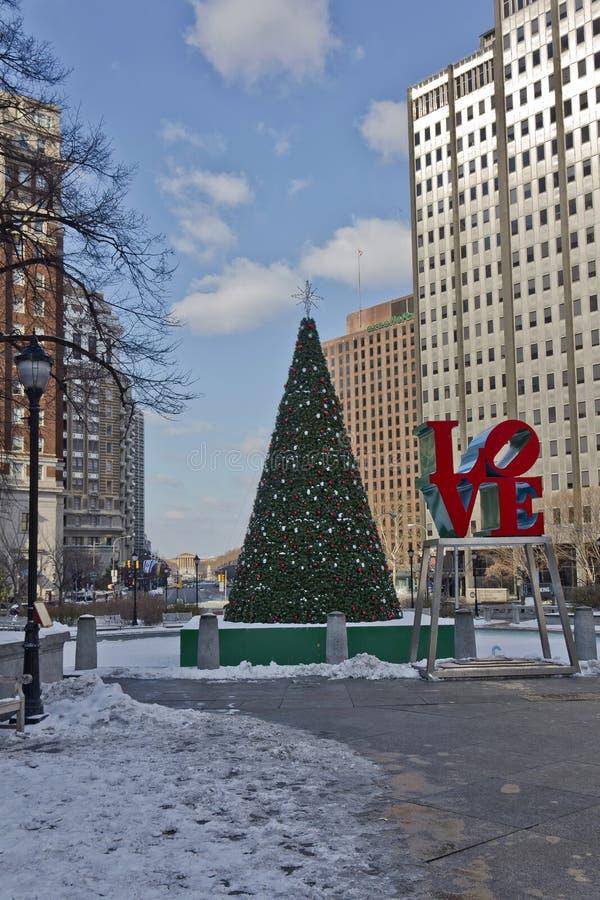 爱公园费城冬天 免版税库存图片