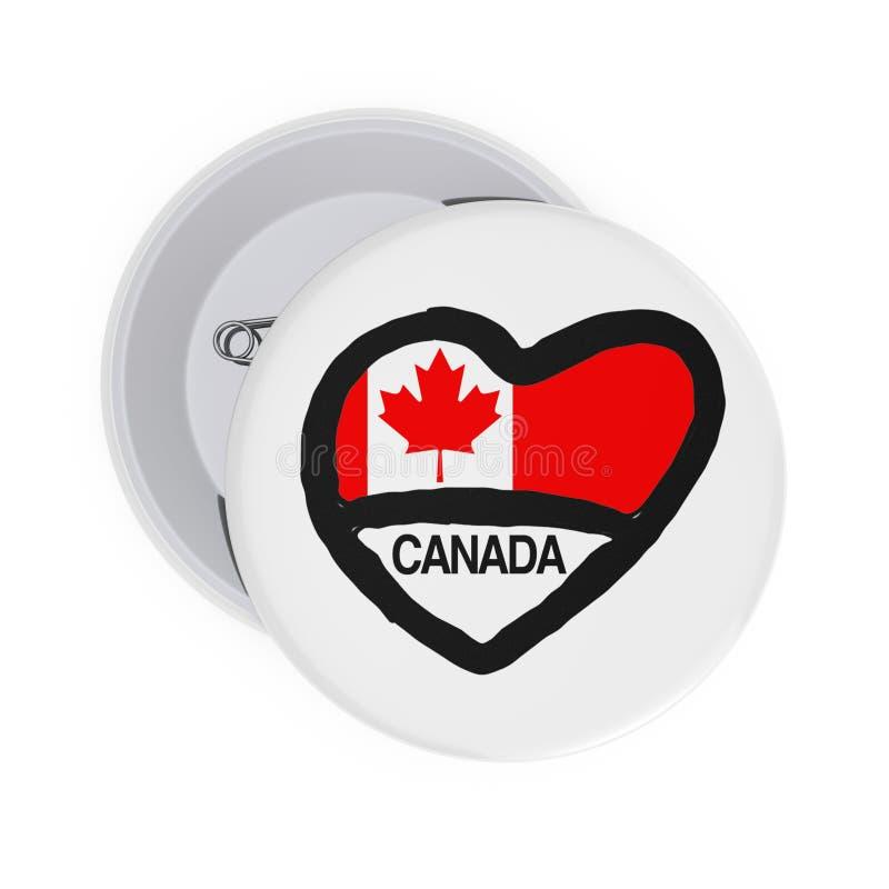 爱加拿大概念 白色Pin证章与心脏、加拿大旗子和标志 3d翻译 皇族释放例证
