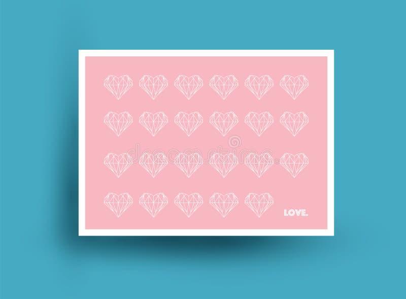 爱华伦泰` s天题材 与心脏的桃红色明信片设计 也corel凹道例证向量 免版税库存照片