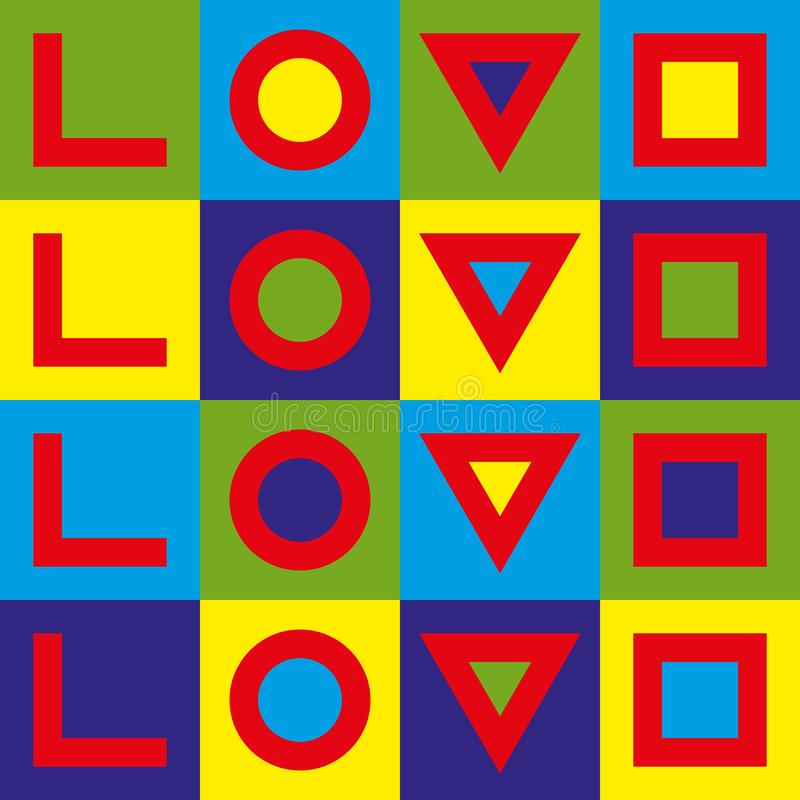 爱印刷术 创造性的爱略写法 几何爱 流行艺术图象 皇族释放例证