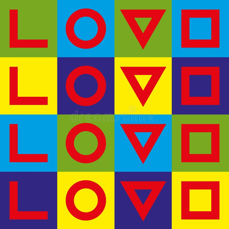 爱印刷术 创造性的爱略写法 几何爱 流行艺术图象 库存例证