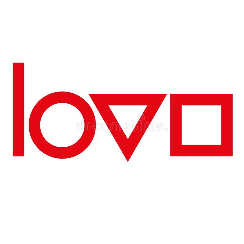 爱印刷术 创造性的爱略写法 几何爱 向量例证