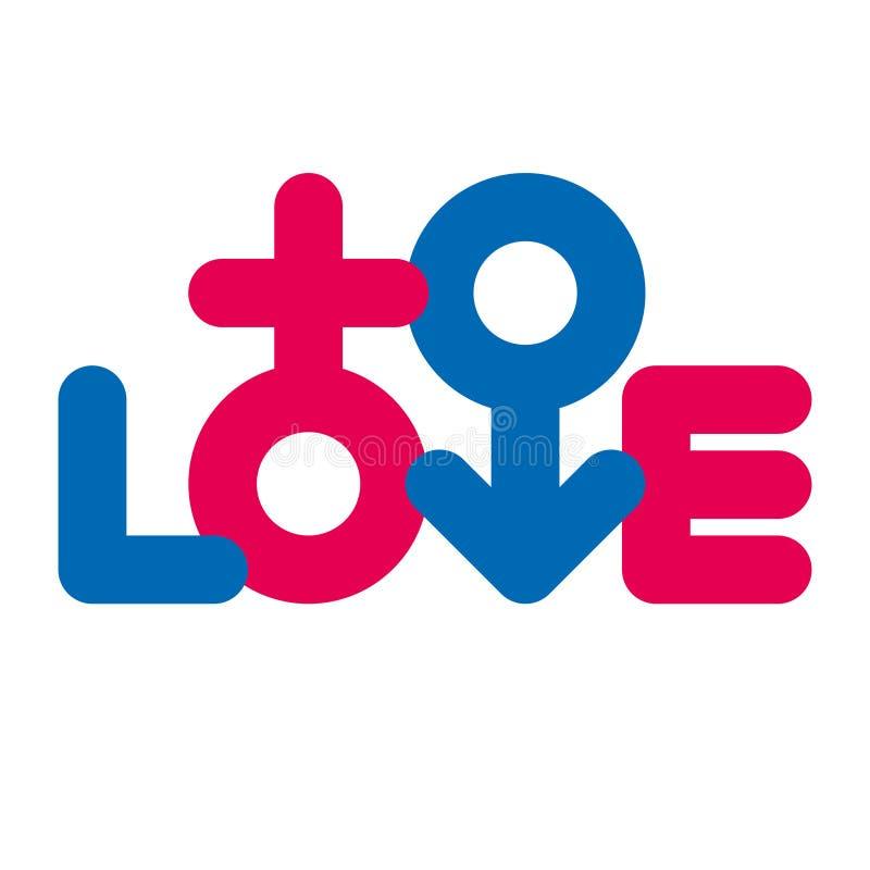 爱印刷术 性别符号 创造性的爱略写法 向量例证