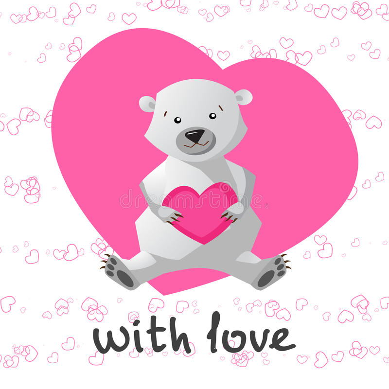 爱可印与拿着心脏的逗人喜爱的熊 皇族释放例证
