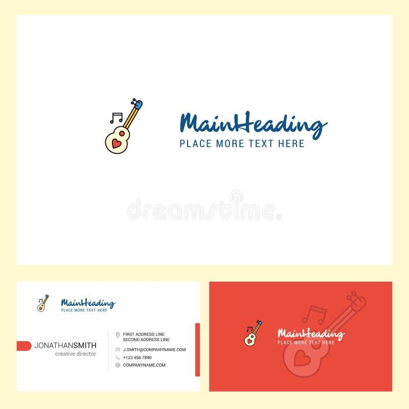 爱吉他与口号的商标设计&前面和后面Busienss卡片模板 传染媒介创造性的设计 库存例证