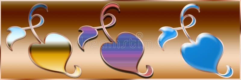 爱和丝带样式或商标和背景 向量例证