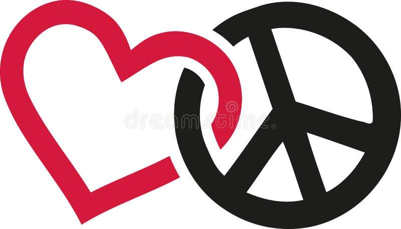 爱和交错的和平标志 向量例证