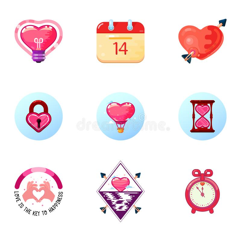 爱和心脏象情人节,两次曝光,现代平的设计样式 向量例证