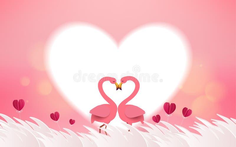 爱和情人节卡片 浪漫桃红色火鸟鸟加入h 皇族释放例证