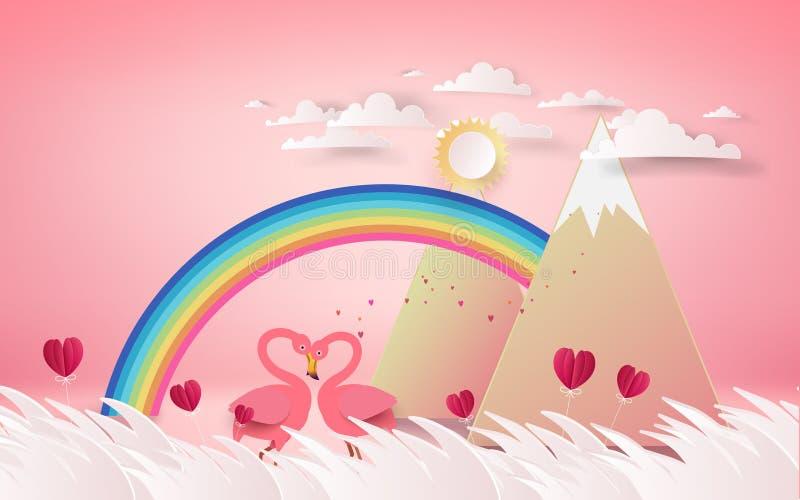 爱和情人节卡片 浪漫桃红色火鸟鸟加入h 向量例证