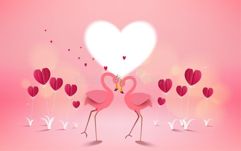 爱和情人节卡片 浪漫桃红色火鸟鸟加入h 库存例证